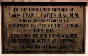 Alfred Sutton School War Memorial Evan L Davies plaque