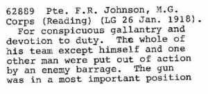 F R Johnson DCM citation 1of2